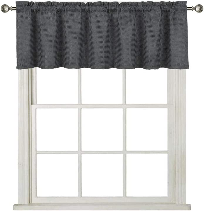 Home Queen Waffle Curtain Valance Window Treatment for Kitchen Bathroom Window, Straight Window Valance, Set of 1, 60 X 16 Inch, Solid Charcoal