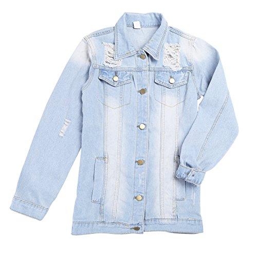 Long Coat Down Jacket Sleeve Denim Jean Turn Basic Lapel iiniim Women Collar RwqfttF