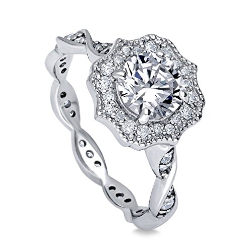 BERRICLE Rhodium Plated Sterling Silver Round Cubic Zirconia CZ Art Deco Halo Milgrain Promise Engagement Ring 1.41 CTW Size 9 (Art Deco Style Engagement Ring)