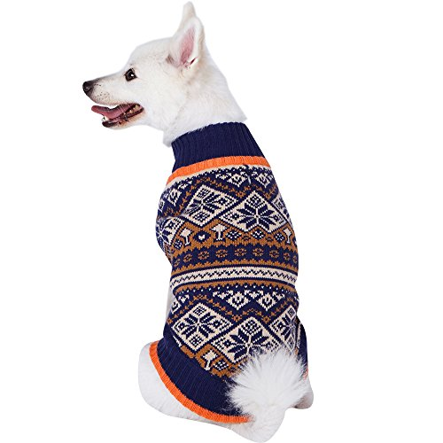 (Blueberry Pet 5 Patterns Nordic Pattern Inspired Fair Isle Navy Blue Snowflakes Dog Sweater, Back Length 10
