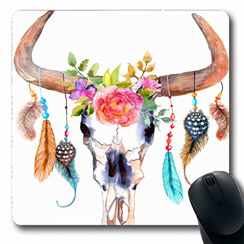 Ahawoso Mousepads for Computers Cow Red Watercolor Bull Skull Flowers Feathers Bone Wildlife Floral Head Steer Buffalo Design Horn Oblong Shape 7.9 x 9.5 Inches Non-Slip Oblong Gaming Mouse Pad