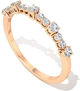 0.27 CT IGI Certified Diamond Wedding Bridal Ring, Women Anniversary Half Eternity Rings, Stackable Bridesmaids Engagement Rings, Mother Promise Rings