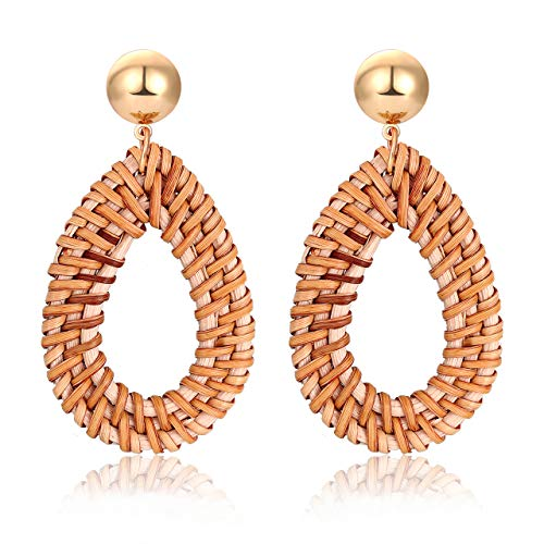 (Rattan Earrings Boho Straw Wicker Woven Handmade Earrings Lightweight Geometric Drop Dangle Earrings Teardrop Rattan Hoop Earrings for Women Girls)