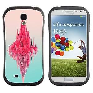 All-Round híbrido de goma duro caso cubierta protectora Accesorio Generación-I BY RAYDREAMMM - Samsung Galaxy S4 I9500 - Iceberg Pink Ocean Neon Art Deep Blue