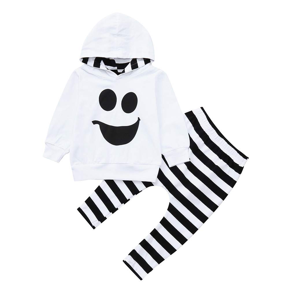 Halloween Toddler Long Sleeve Outfit, Baby Boys Girls Smile Ghost Cartoon Print Hooded Tops + Pullover Striped Pants 2PCS Clothing Set 1-4 Years