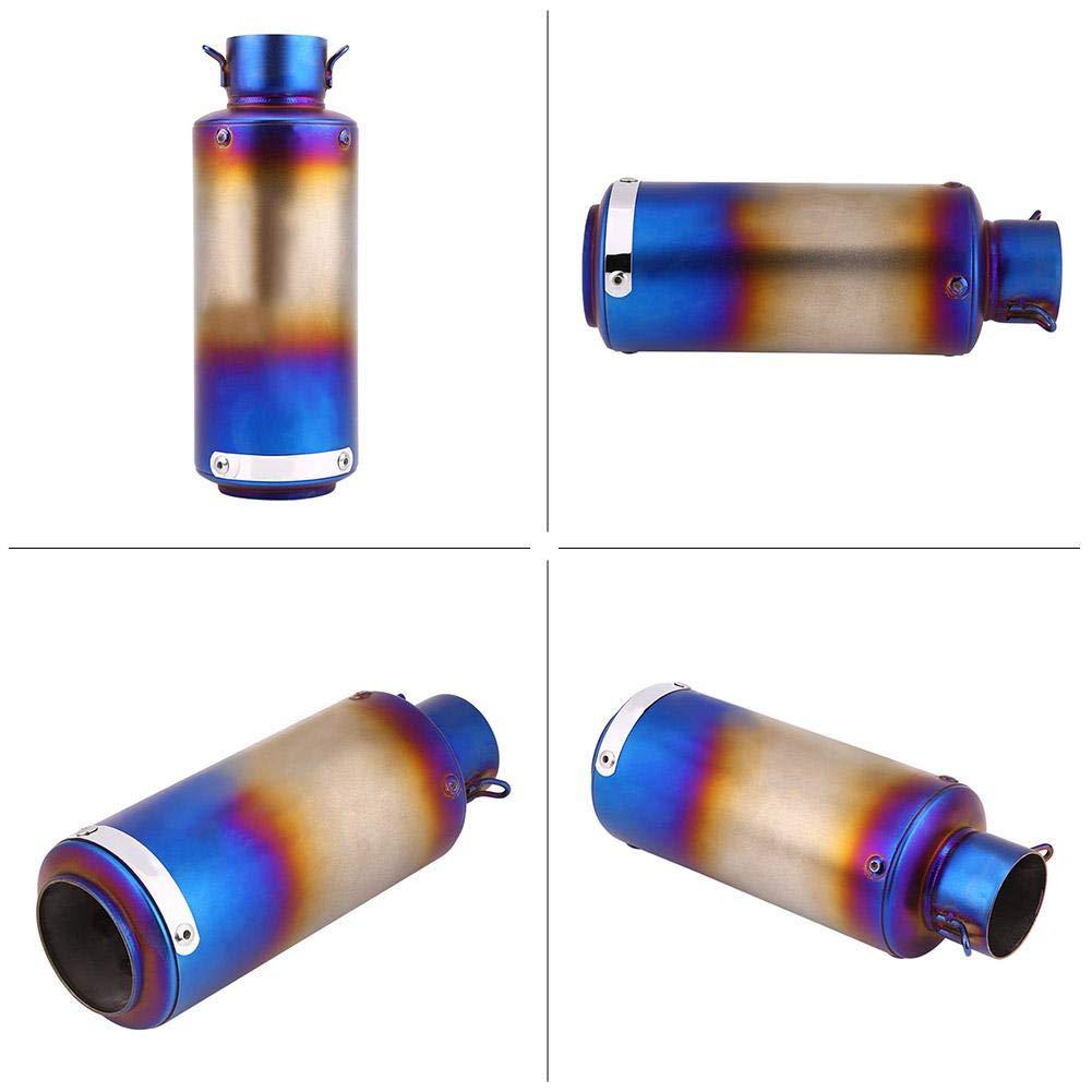 Half Blue Tubo di Scarico Marmitta Silenziatore di Scarico per Moto Tubo di Scarico Terminale per Tubo Acciaio Inox Universale