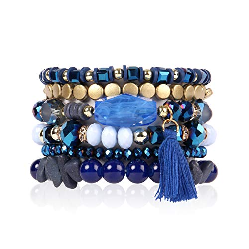 (RIAH FASHION Bead Multi Layer Versatile Statement Bracelets - Stackable Beaded Strand Stretch Bangles Sparkly Crystal, Tassel Charm (Coin Bead/Tassel - Navy))