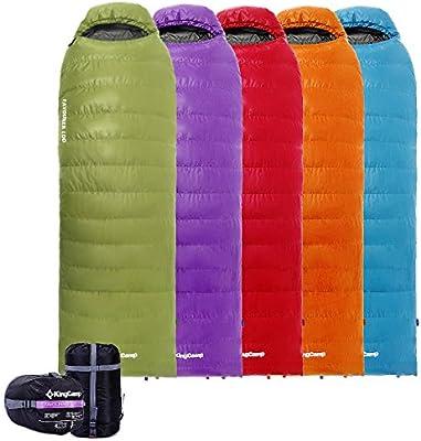 KingCamp - Saco de dormir de plumón (-21 °C) con cabecero (185 + 35) × 80 cm, color Cyan Left Zip, tamaño -12°C/10.4°F, de poliéster, 2.43