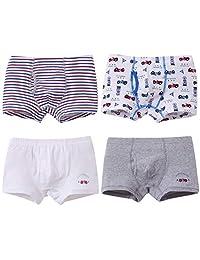 Boys Boxer Briefs Kids Underwear Cotton 4Pack Boxer Shorts Soft Briefs 2-13Y