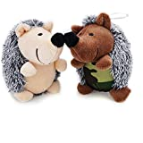 Aviling Squeaky Soft Plush Dog Puppy Toys Squeaker Hedgehog Tough Durable Teeth Chew Training Playing Toys for Dogs 2 Pack Yellow and Camouflage