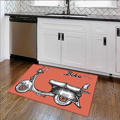 Non-Slip Thicken Carpet Retro Scooter Sign Bike Bicycle Rent Classic Grunge Illustration Art Red Black Easier to Dry -