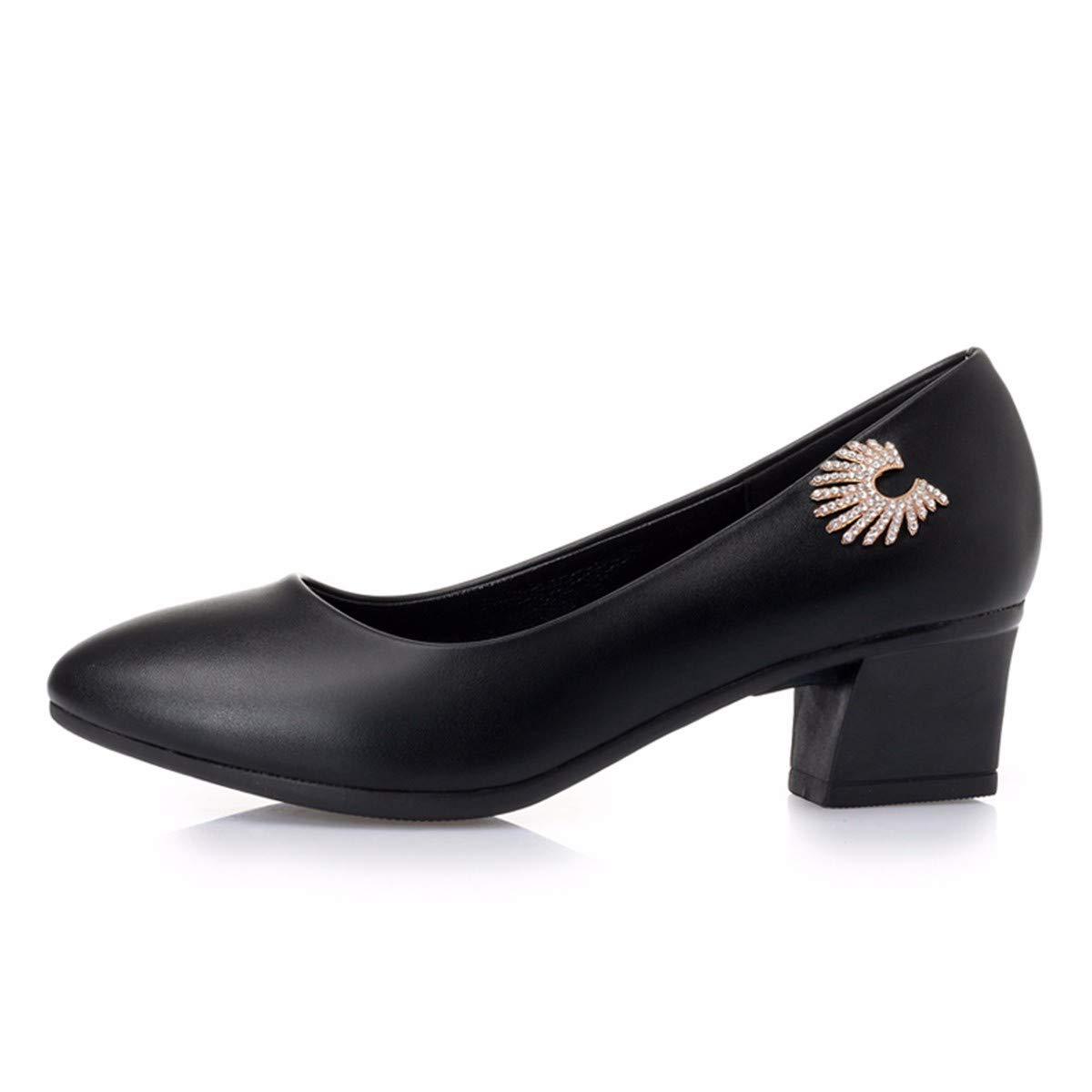 KPHY Damenschuhe/Joker Meine Schuhe Damen Lederschuhe Flache Schuhe Schuhe Meine Schuhe Mitte Weichen Boden Komfort.40 Schwarz - 417ec4