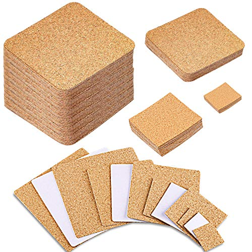 SIQUK 105 Pieces Cork Coasters Self Adhesive Square Cork Mats Cork Backing Sheets for Drink Cup and DIY Crafts Supplies(4 sizes)