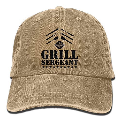 Discoveredthesecret Drill Grill Sergeant BBQ Adult Cotton Washed Denim Leisure Cap Hat Adjustable Natural