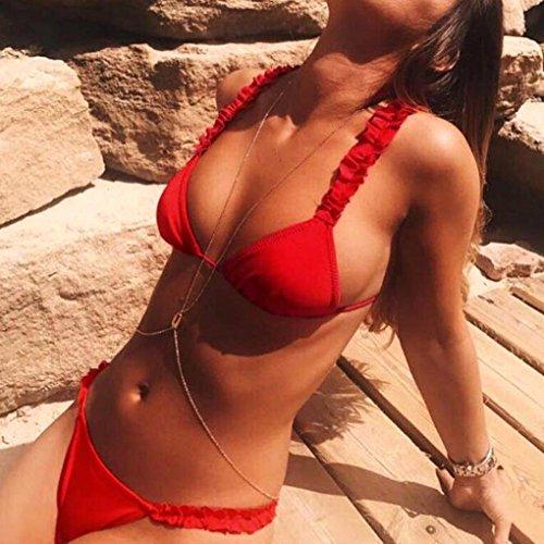 Da Swimwear Rosso Donna Sexy Imbottito Costumi Bagno Estivo Push Zolimx up FOqBI5B
