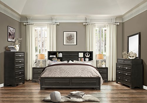 Roundhill Furniture Loiret 236 Antique Grey Bed Room Set/Queen Storage Bed/Dresser/Mirror/2 Night Stand/Chest