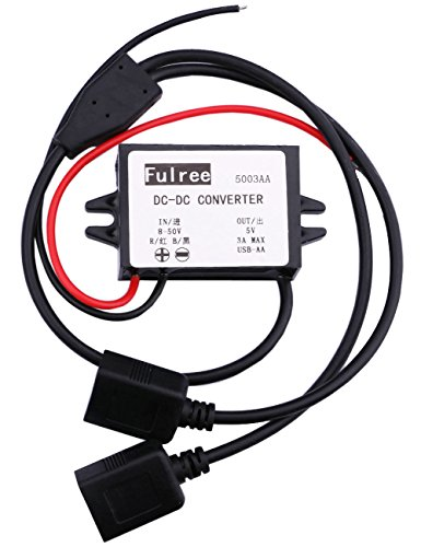 Yeeco DC DC 8-50V 12V 24V 6V to 5V Waterproof Buck Voltage Converter Transformer Power Supply Module 15W 3A Step Down Voltage Regulator Reducer Type A Dual USB Adapter Connector for Cell Phone MP3/MP4