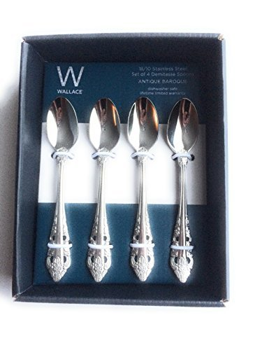 Wallace Antique Baroque 18/10 Stainless Steel Demitasse Spoons Set of 4 by Wallace