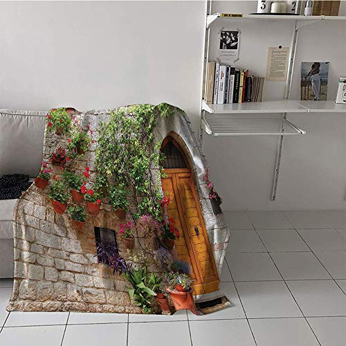 Khaki home Children's Blanket Cozy Flannel Soft Blanket Microfiber (50 by 70 Inch,Tuscan Decor Collection,Begonia Blooming in Box and Wooden Shutters on Brick Wall in Italy Picture,Red Purple Ivory