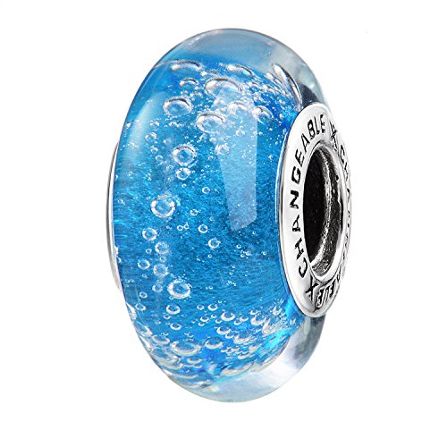 - Murano Glass Charms Beads for Bracelets, Capri Blue, 925 Sterling Silver (Bubbles)