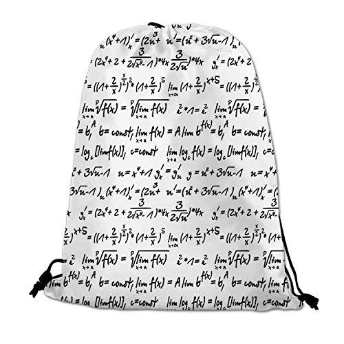 Mathematics Classroom Decor Lightweight Drawstring Bag,Algebra Symbols Function Arithmetic Trigonometry Science Proof for Travel Shopping,One_Size]()