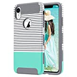 ULAK iPhone XR Case, Slim Fit Hybrid Hard PC Shell Flexible Shock Absorbing TPU Skin Protective Grip Cover for Apple iPhone XR 6.1 Inch, Mint Stripes