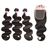 West Kiss Hair Brazilian Body Wave Virgin Remy Human Hair Extensions 3 Bundles with 4×4 Free Part Lace Closure Nature Color 100% Unprocessed (16 18 20 & 14 inch)