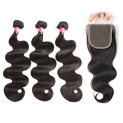 Cheap West Kiss Hair Brazilian Body Wave Virgin Remy Human Hair Extensions 3 Bundles with 4×4 Free Part Lace Closure Nature Color 100% Unprocessed (16 18 20 & 14 inch)