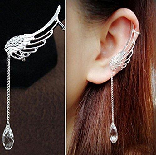 Earring NYKKOLA Charm Elegant Angel Wing Crystal Earrings Drop Dangle Ear Stud Cuff Clip