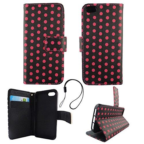 König Boutique Wallet Case Étui en cuir synthétique pour Apple iPhone 5/5S/SE–Cover Étui à rabat en noir/pink Design avec compartiment pour carte et fonction support