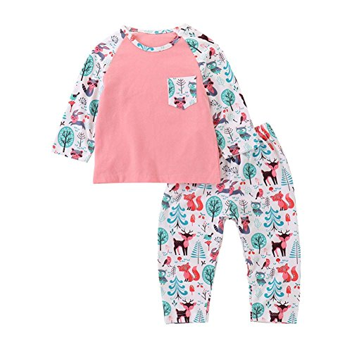 KaiCran 2PCS Baby Girls Cotton Owl Cartoon Print Tops + Pants Suit Kids Leisure Clothes Sport Clothing Set (Pink, 90(12-18 Mons))