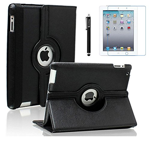 AiSMei Case for iPad 4 (2012), iPad 3 (2012), iPad 2 (2011), 9.7-inch Rotating Stand Case Cover For Apple iPad 2, iPad 3, iPad 4 [Bonus Film+Stylus] Black