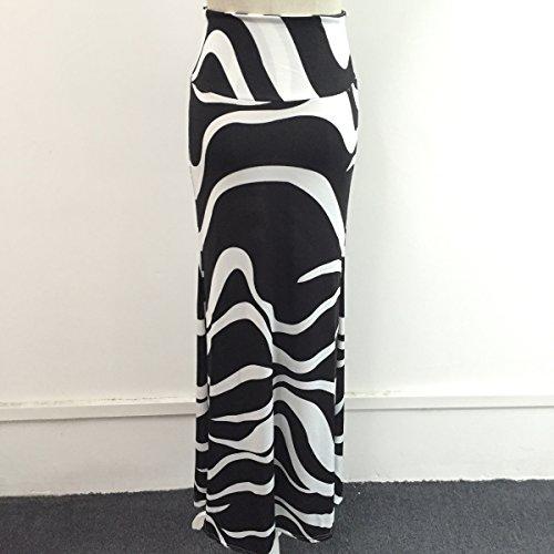 qiyushow de las mujeres Sexy rayas cintura alta paquete cadera Maxi Largo Faldas Vestidos Blanco Negro +