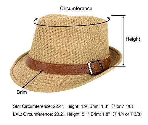 f3fe0b49 Simplicity Panama Style Trilby Fedora Straw Sun Hat with Leather Belt