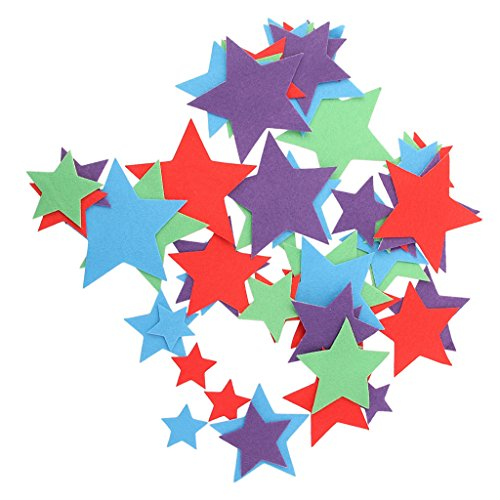 Lovoski 約50枚 接着剤 クラフト用 シェイプフェルト 縫製 DIYカード アップリケ 全7パタン - 星の商品画像