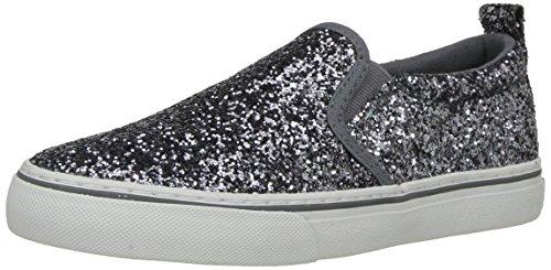 Polo Ralph Lauren Kids Girls' Carlee Twin Gore Loafer Flat, Pewter Glitter, 4.5 Medium US Big Kid (Pewter Glitter)