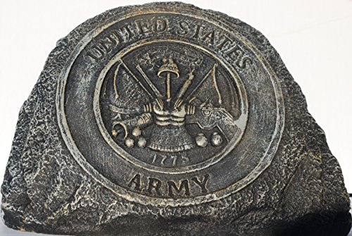 Army Service Stone Memorial Handmade in USA Made of cast Stone Concrete Great for Indoor or Outdoor 3 finishes Stained or unpainted (Army Stepping Stone)