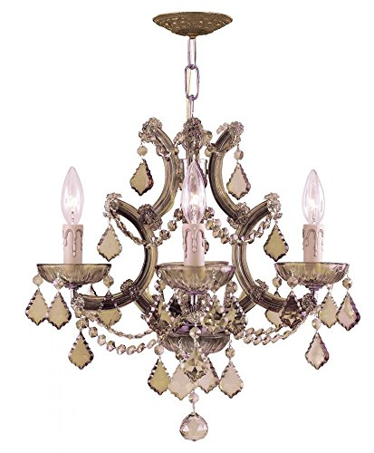 Antique Brass / Golden Teak Hand Polished Maria Theresa 4 Light Candle Style Crystal ()