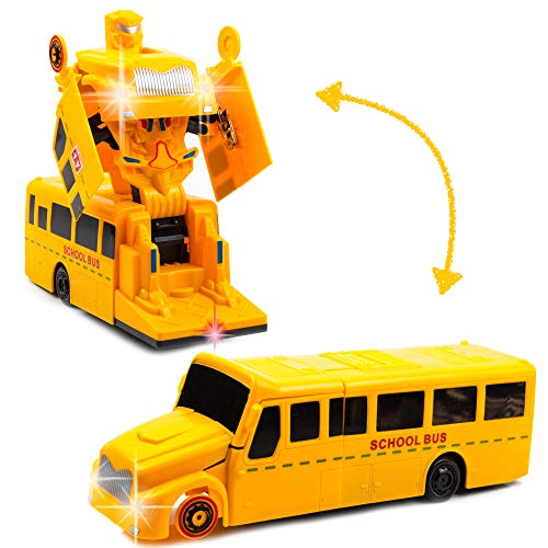 Toysery Deformation School Bus   Super Enhanced Version   Inbuilt with Lights and Music   Automatically Transforms from Bus to Robot   Safe and Durable   Easy to Operate (Transformer School Bus)