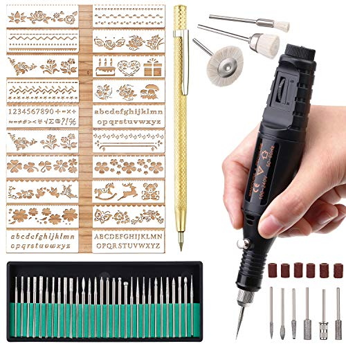 Electric Micro Engraver Pen Mini DIY Engraving Tool Kit for Metal Glass Ceramic Plastic Wood Jewelry 1 Scriber Etcher 30 Bits 6 Polishing Head 3 Wool Cleaner Bits 20 Stencils and Operating Instruction ()