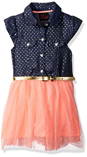 [Little Lass Girls' 1 Pc Glitter Tulle Dress, Neon Coral, 5] (Neon Party Dresses)