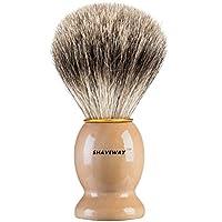 Brocha de afeitar Shaveway 100% original de tejón puro. Diseñado para el mejor afeitado de tu vida. Para todos los métodos, navaja de afeitar, maquinilla de doble filo, maquinilla de afeitar Staight o maquinilla de afeitar, este es el mejor cepillo de