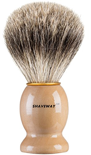 (Shaveway 100% Original Pure Badger Shaving Brush. Engineered for the Best Shave of Your Life.For all methods,Safety Razor,Double Edge Razor,Staight Razor or Shaving Razor, This is the Best Badger)