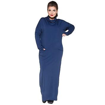 buy online d67df 4c6d7 Frauen High Necked Kleid, Pendeln Große Größe Langen Rock ...