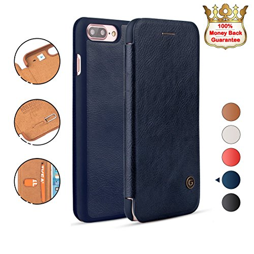 iPhone 8/7 Plus Case Shockproof, G-CASE [Business] Ultra Slim Folio Flip Leather Wallet Case With Card Slot for Cash/Nano SIM Card/Ejector Pin Protective Skin Cover for iPhone 8/7 Plus-Blue(2017)