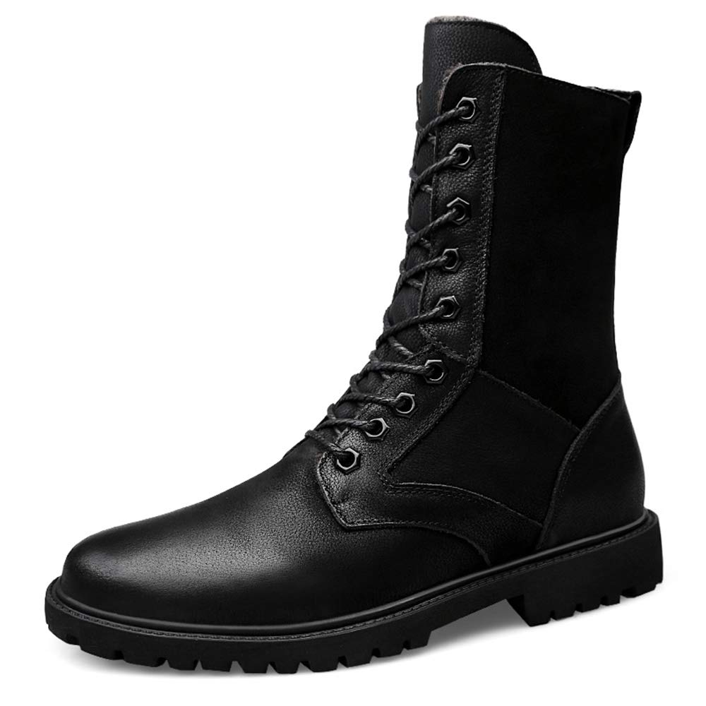 Gobling Men's Mid-Calf Boots, Classic Casual Waterproof Windproof Anti-Slip Army Boots(Warm Velvet Optional) (Color : Black, Size : 12 D(M) US)