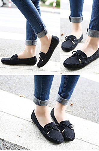 Regenstaart Dames Casual Strik Mocassins Slip Op Loafers Platte Schoenen Zwart