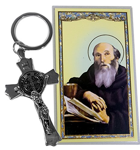 Saint Benedict Key Chain with Jesus on the Cross Gift set. Includes St Benedict Crucifix Key Ring and St Benedict Prayer Card. Perfect Gift for New Drivers Detailed Sterling Silver Cross