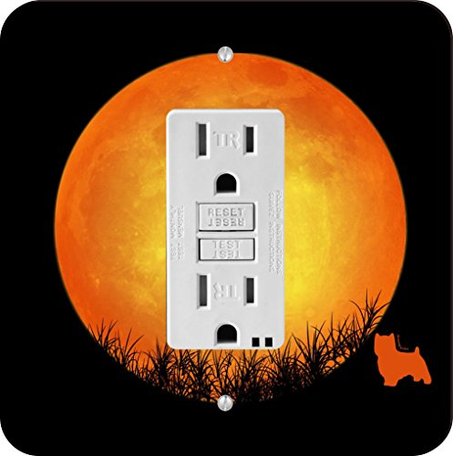Rikki Knight 41310 GFI Single Norwich Terrier Dog Silhouette By Moon Design Light Switch Plate