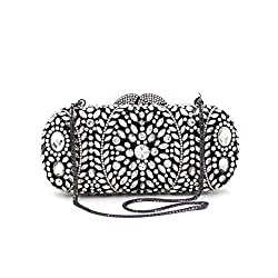 Stone Studded Luxury Clutch With Chain